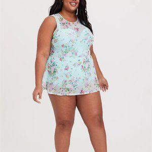 torrid Swim - Torrid 2X 6X Swim Dress Aqua Push Up Swimsuit Plus